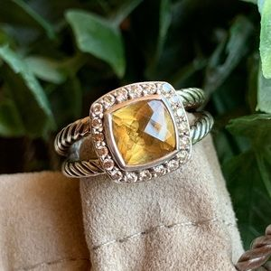 David Yurman Petite Albion Citrine & Diamond Ring